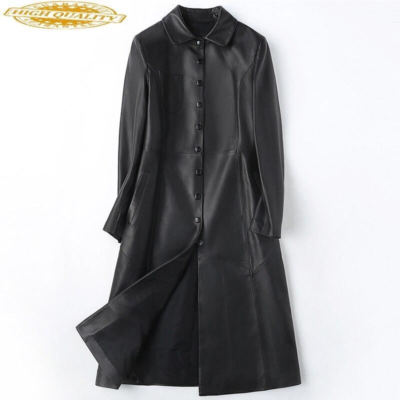 Spring Autumn Heepskin Coat Spring Autumn Jacket Women Clothes 2020 Korean Vintage Long Trench Coats Outwear Women Tops ZT2319