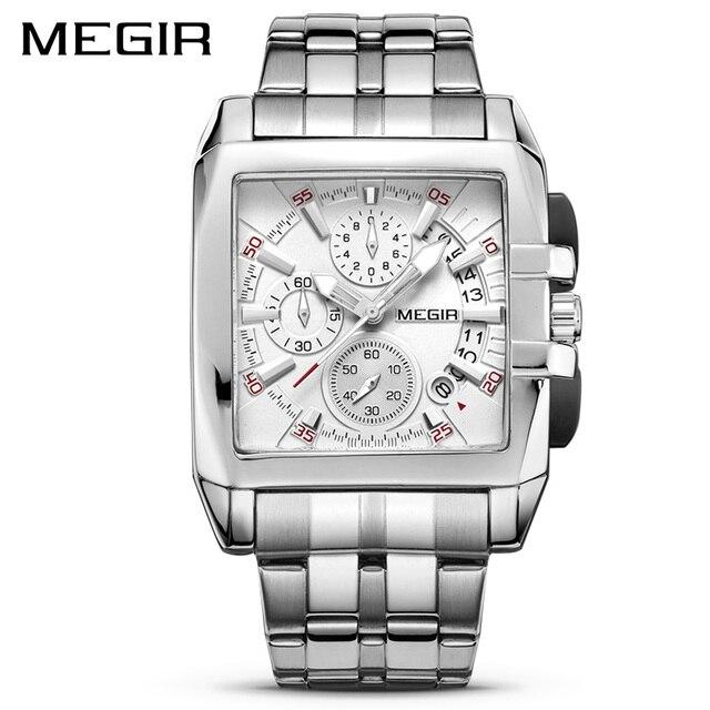 Часы наручные MEGIR Мужские кварцевые, оригинальные Роскошные деловые, с большим циферблатом, из нержавеющей стали, 2018