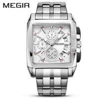 Megir relógios de pulso de quartzo dos homens de aço inoxidável relógio de luxo original negócios grande dial relógios de pulso relogio masculino 2018