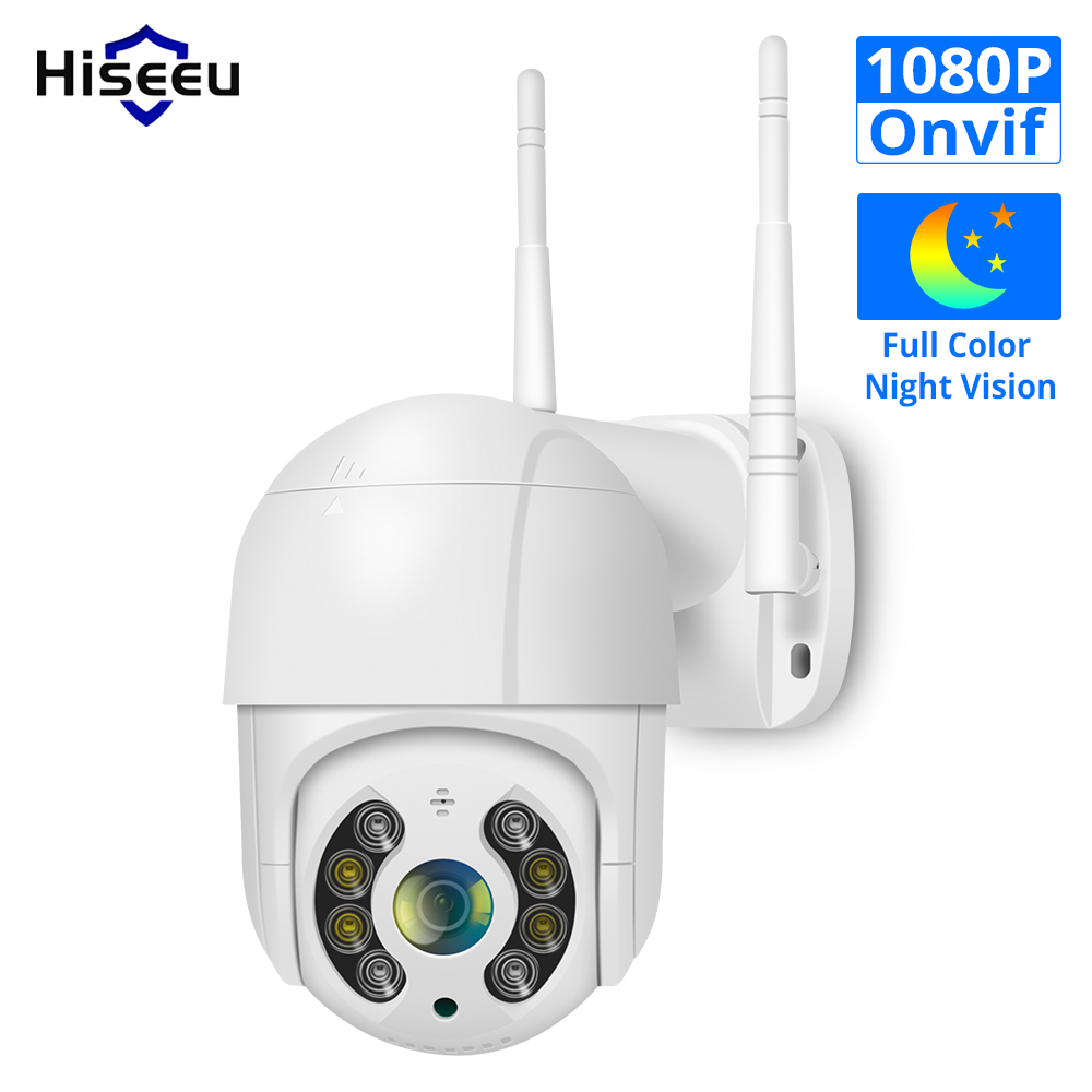 Hiseeu PTZ WIFI IP Dome 2MP Camera 1080P ONVIF Outdoor Waterproof Security Speed Camera SD Card Wireless IP Camera App View