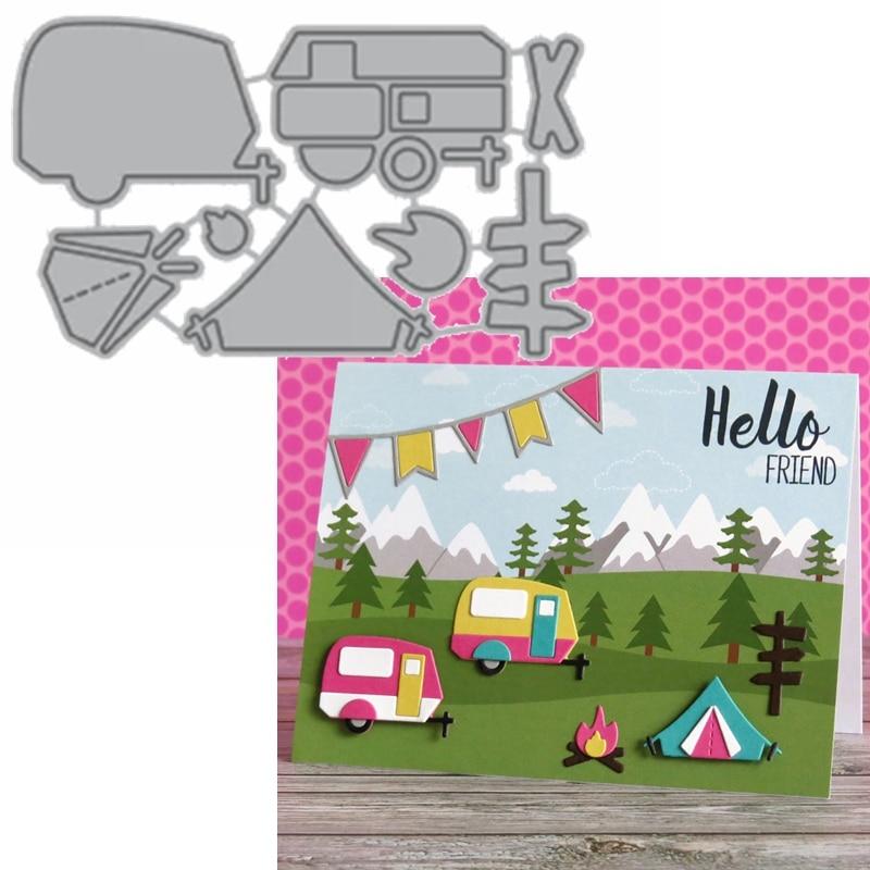 Camp Out Metal Cutting Dies Caravan Camp Bonfire Guideboard Die Cut For Card Making DIY Decoration New2019 Embossed Crafts Cards