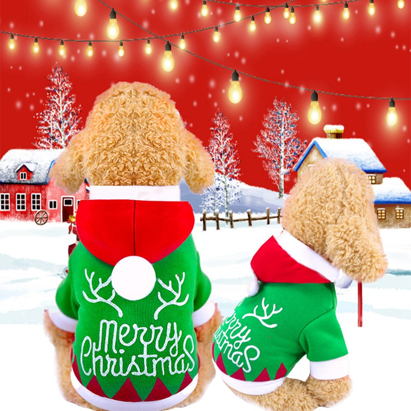 -Christmas Dog Clothes Santa Dog Costumes With Hat Festive Theme Dog  Jackets Soft Cotton Material