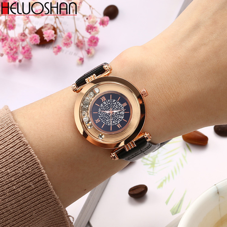 2020 Fashion Luxury Brand Leather Quartz Wristwatch Ladies Dress Rhinestone Watch Women Watches Reloj Mujer Montre Femme Clock