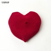 USPOP 2019 New fashion women berets female winter wool beret heart shape beret solid color warm wool hats
