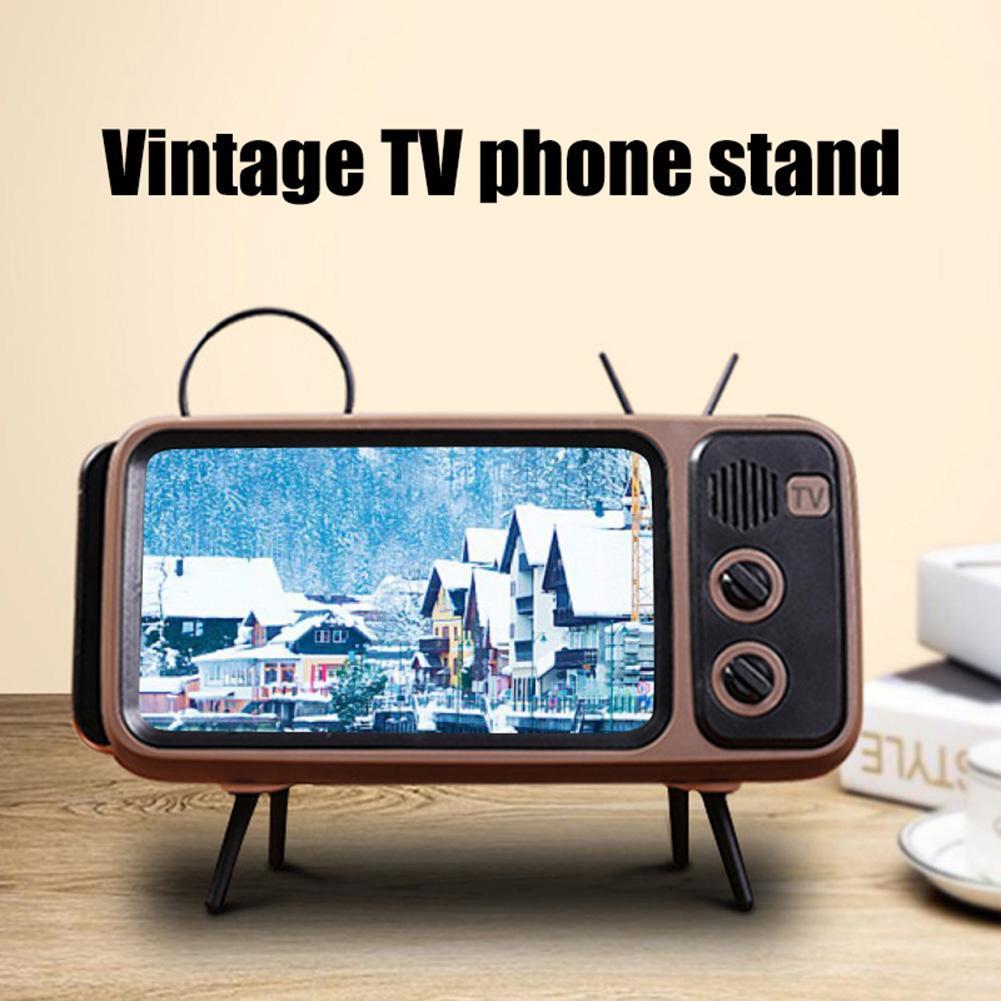 Portable Universal Retro TV Desktop Mobile Phone Holder Stand Mount Bracket Phone Holder  Retro TV Appearance Universal Easy Use