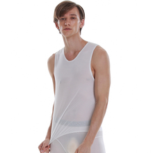 Dos homens de seda gelo AsiaSkin, ultra fino, colete ombro largo, nenhuma marca, nenhuma borda, sexy sem mangas s022BK.