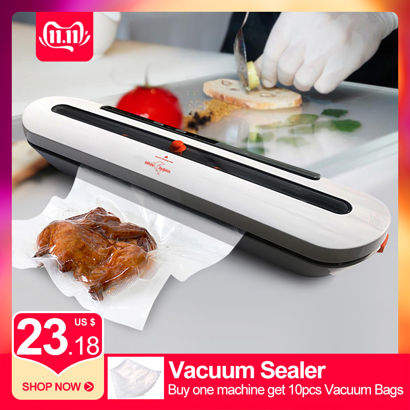 Household Vacuum Food Sealer Mini With 10pcs Storage Bags Automatic Electric Food Saver Vacuum Sealer Machine 220V 110V