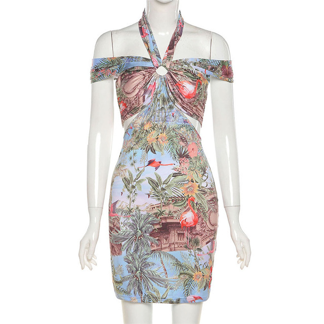 Fashion Sexy Halter Mini Bodycon Dress Summer New Party Vacation Print Off the Shoulder Short Dresses Female Streetwear 6
