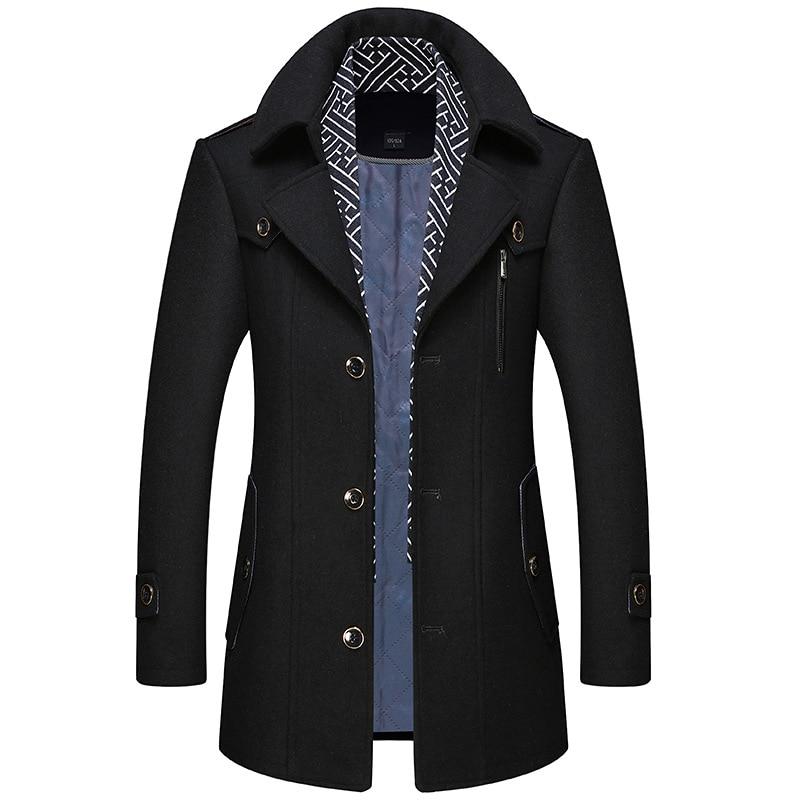 Men Coat Wool Overcoat Fashion Turn Collar Warm Male Coat Jackets Woolen Mens Coats Blends Scarf Casual Outwear Single Breasted
