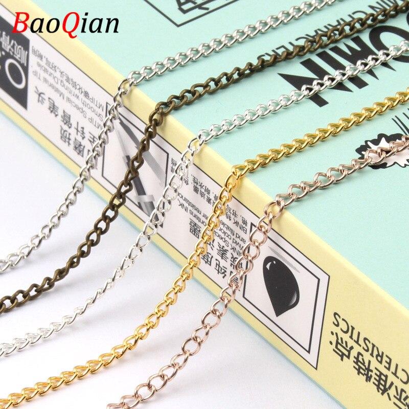 1/2/3/4/5 m corrente de metal multicolorido para colar artesanal pulseira que faz jóias diy que fazem acessórios decorativos
