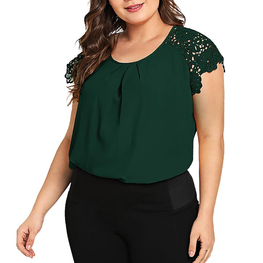 Women Blouses Floral Lace Women Short Sleeve Round Neck Summer Tops Large Size Blouse Et Chemisier Femme Plus Size #YJ