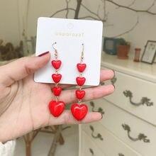 Модные Простые красные серьги подвески большие и маленькие в