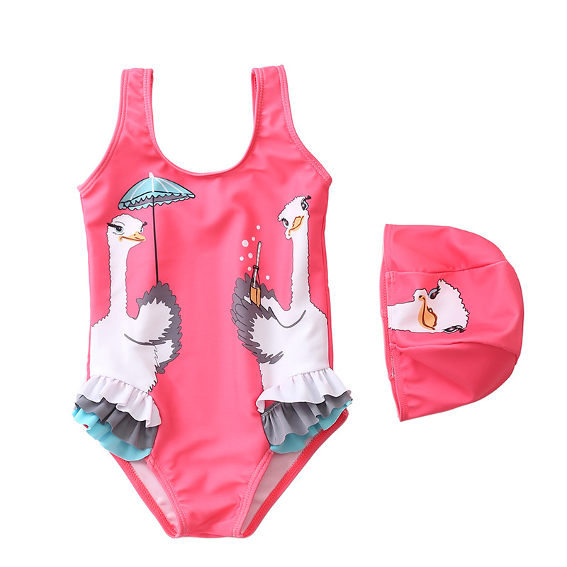 2019 GIRL'S Swimsuit Europe And America New Style Baby Swimwear Cute Red Ostrich Cap-Infant Children Siamese Swimsuit