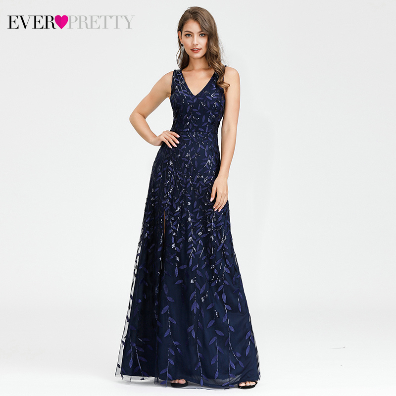 Sparkle Navy Blue Evening Dresses Ever Pretty A-Line High Split Sequined V-Neck Sleeveless Tulle Sexy Party Gowns Abendkleider
