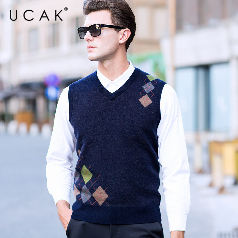 UCAK Brand Pure Merino Wool Sweater Vest 2019 New Arrival Casual Autumn Winter Pull Homme Streetwear Warm Sweaters Clothes U3103