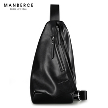 MANBERCE 2019New Mens Genuine Leather Waistband Fashionable Multi-functional Cow One-shoulder Sloping Bag Free Shipping