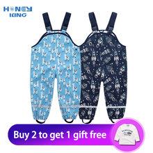 Детские Непромокаемые дождевые брюки HONEYKING из ПУ, комбинезон для маленьких мальчиков и девочек, комбинезоны, Детские дождевые комбинезоны, ...