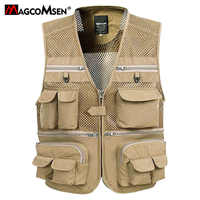 MAGCOMSEN Unloading Men's Sleeveless Jacket Summer Quick Dry Tactical Vest Photographer Waistcoat Multi Pockets Male Cargo Vests