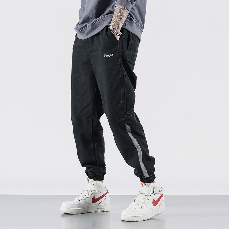 2019 Fashion Streetwear Men Jeans High Quality Loose Fit Stripe Designer Black Cargo Pants Harem Jeans Hip Hop Joggers Jeans Men