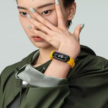 Xiaomi Mi Band 6 inteligentna bransoletka 5 kolorów AMOLED ekran Miband 6 tlen krwi Fitness Traker Bluetooth wodoodporny inteligentny zespół tanie i dobre opinie kolorowy wyświetlacz lcd Zgodna ze wszystkimi RUBBER Krokomierz Rejestrator aktywności fizycznej Rejestrator snu Wiadomości z przypomnieniami