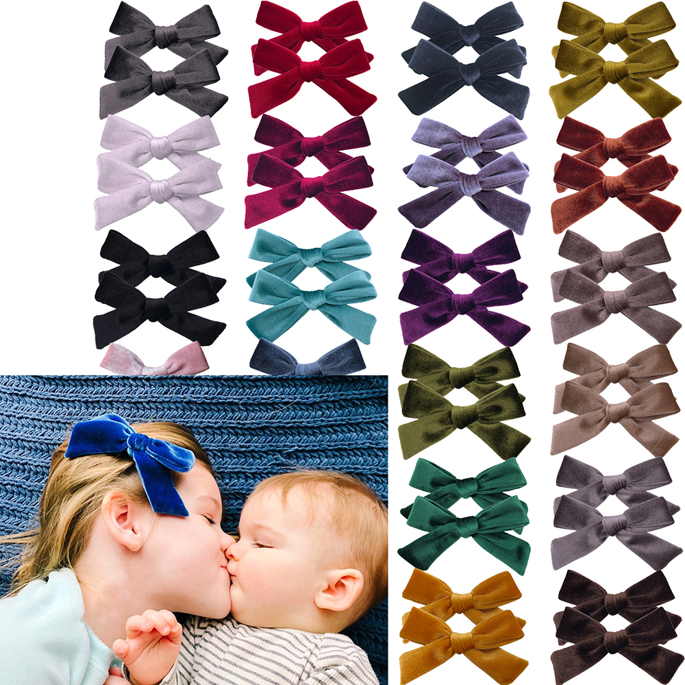 2 PCS Baby Girls Velvet Fabric Hair Bow Clips Hair Accessories Hairpins Kids Mom Handmade Hair Bow Barrettes Hairgrips Headwear