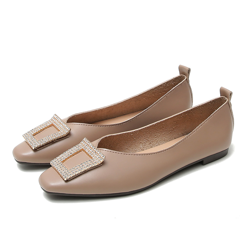 European Style Square Head Comfortable Leather Shoes Metal Decoration Soft Bottom Pregnant Women Flat Shoes  Zapatos De Mujer