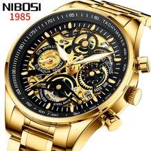 2020 New NIBOSI Automatic Watch Men Steel Strap Top Brand Luxury Men Watch Transparent Fashion Skeleton Watch Relogio Masculino