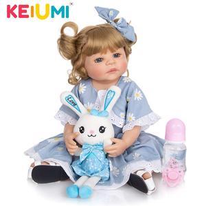 KEIUMI 22 Inch 55 CM Gold Hair Full Silicone Dolls Reborn Baby Boneca Baby Reborn Girl Toys For Toddler Playmates Kids Gifts