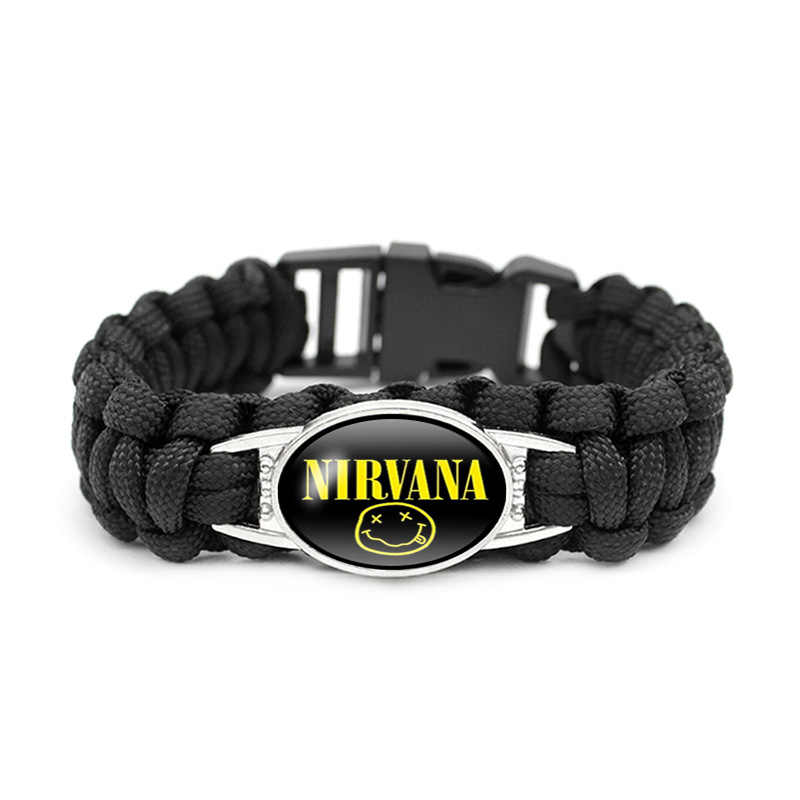 Rock Band Senyum Nirwana Band Gelang Kaca Cabochon Liontin Gelang Perhiasan Grosir Penggemar Musik Rock Hadiah