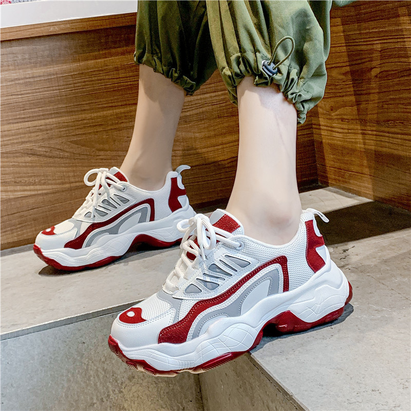 Shoes Women Chunky Shoes Autumn New Sneakers Ladies Girls Leather Casual Shoes Woman Patchwork Female Chunky footware U21-75