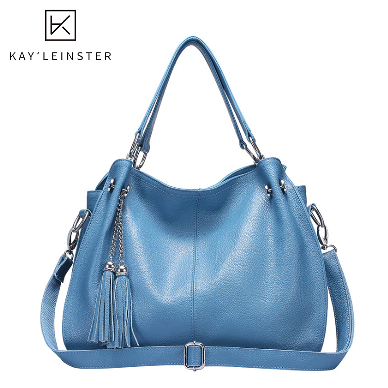100% Genuine Leather Women Shoulder Bag Designers Tassel Handbag Large Capacity Tote Bag Solid Fashion Female Crossbody Purse