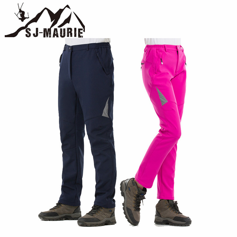 SJ-Maurie Men Women Snow Pants Hiking Camping Skiing Pants Softshell Fleece Waterproof Windproof Thermal Winter Trekking Pants