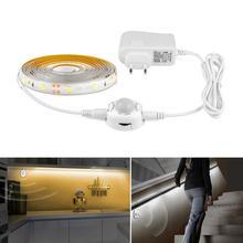 Aimengte dc12v fita led com sensor de movimento, ligamento e desligamento automático, flexível, 1m, 2m, 3m luz de cama de 4m 5m smd2835 com fonte de alimentação