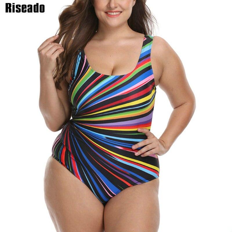 Riseado 2020 plus size roupa de banho feminina esporte um pedaço maiô listrado impressão u-back swim wear beachwear banhistas 3xl