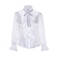 Women Elegant Pure White Falbala OL Blouse 2020 Sp