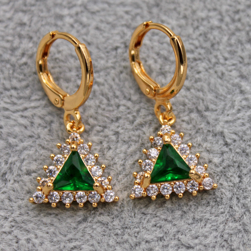 H23a3a4bc98974e988117e5019cbadd3ak - Trendy Vintage Drop Earrings For Women Gold Filled  Red Green Pink Lavender Zircon Earrings Gold  Earring Wedding  Jewelry