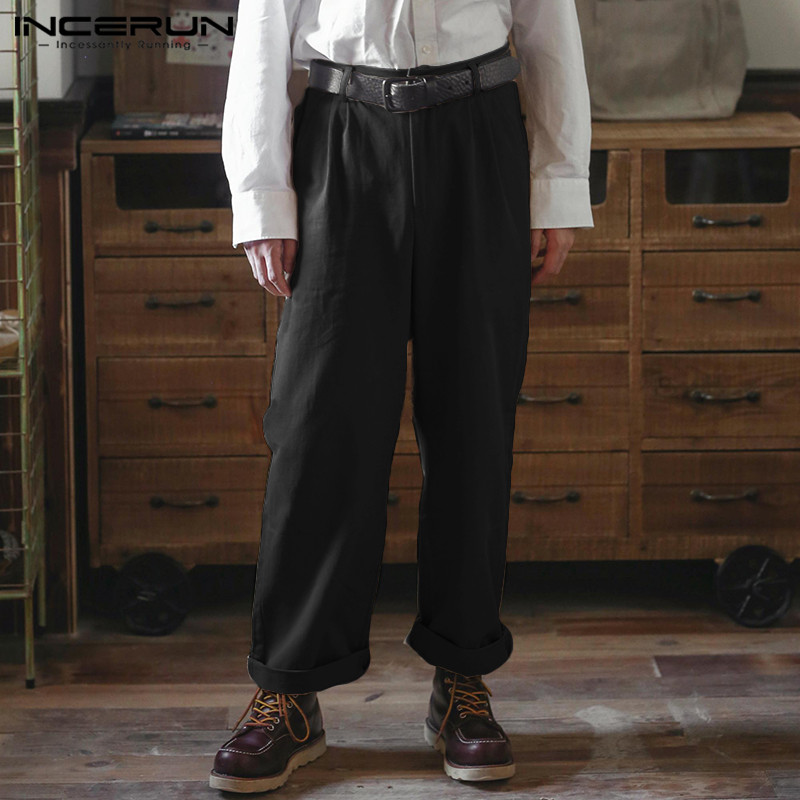 INCERUN Fashion Men Straight Pants Solid Loose Pockets Button Joggers 2020 Business Pants Cotton Casual Streetwear Trousers Men