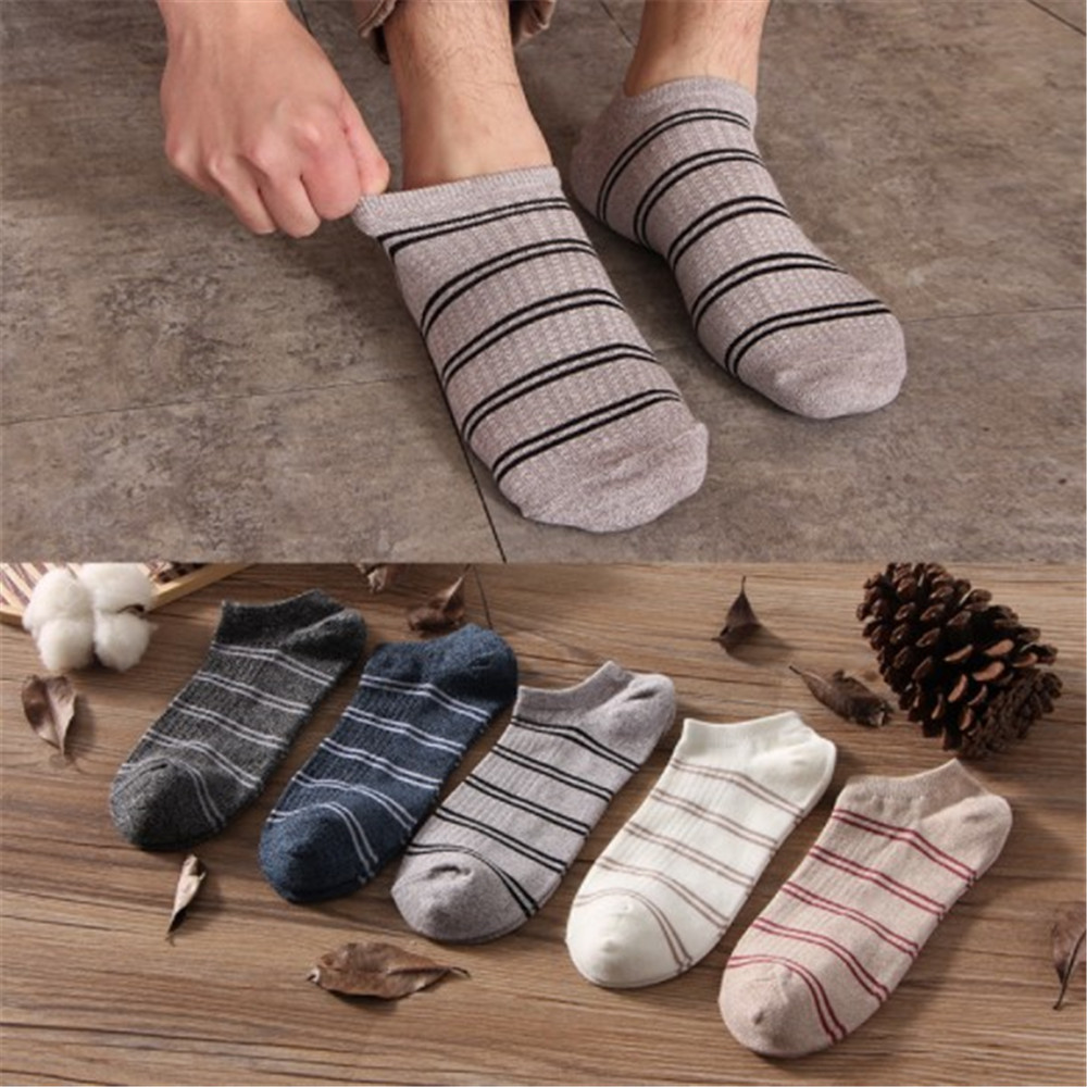 5 Pair Men's Socks Cotton Stripe Shallow Mouth Boat Socks Spring Autumn Male Casual Harajuku Breathable Men Ankle Sock