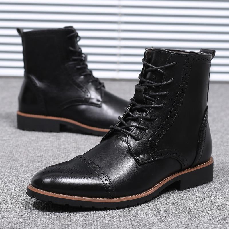 Men Pu Leather Lace-up Men Shoes High Quality Men Vintage British Military Boots Autumn Winter Plus Size 2019 New