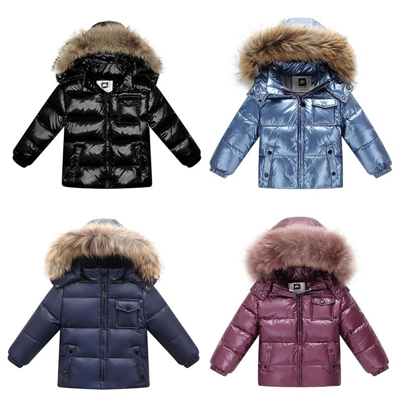 Enfant veste à capuche d'hiver veste enfants chaud 90% blanc canard vers le bas manteaux pour vêtements de dessus pour garçons filles enfants Nature fourrure Parka