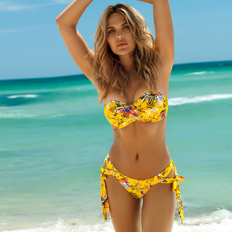 Middle Waist Bandage Bikini 2020 New Swimwear Women Swimsuit Swimming For Women Suits Bikini Set Print Floral Beachwear Summer