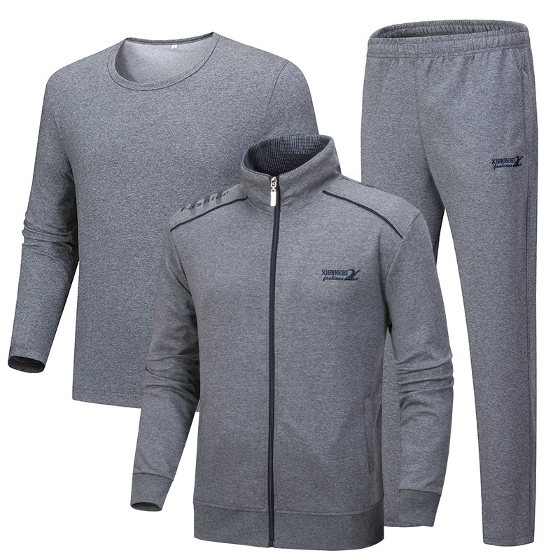 2018 Men Youth Cotton Sports Set Men's Spring And Autumn Daddy Clothes Middle-aged Men's Sports Clothing Large Size Three-piece