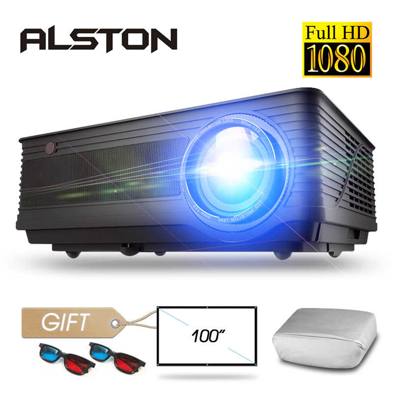 Alston M5 M5W Full HD 1080P Proyektor 4 KB 6500 Lumen Cinema Projector Proyektor Android WIFI Bluetooth HDMI VGA AV USB dengan Hadiah