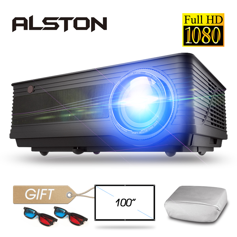 Alston m5 m5w completo hd 1080 p projetor 4 k 6500 lumens cinema proyector beamer android wifi bluetooth hdmi vga av usb com presente