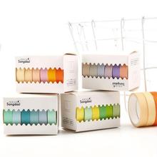 Prosta taśma maskująca Washi w jednolitym kolorze przyklejony papier dekoracyjny zestaw taśm DIY dekoracje materiały biurowe księga gości 6 sztuk worek tanie tanio MCHUAJUAN Washi Tape