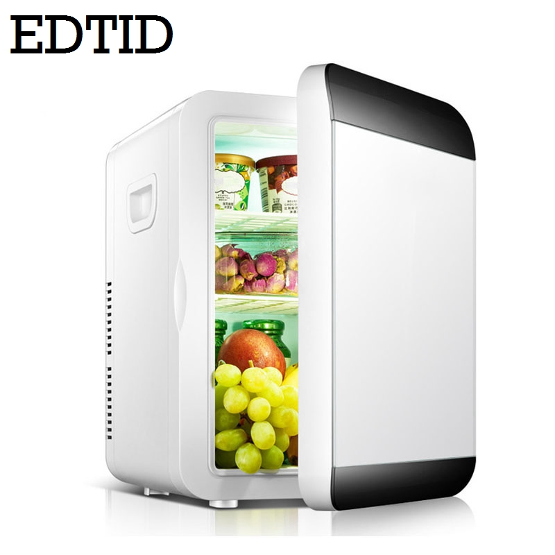 EDTID 12L MINI Car Fridge Portable Auto Household Refrigerator Travel Food Electric Warmer Freezer Cooler Box Office 12V 220V