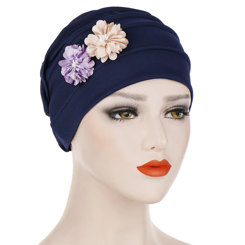 Two Flowers Headscarf Hat Solid Cotton Inner Hijabs Muslim Headdress Hijab Underscarf Cap For Women Turban Bonnet Femme Musulman