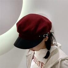 Hats Painter-Cap Beret Octagonal Autumn Women Ladies Solid for Casual Wool