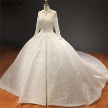 Elfenbein Hohe ende Sparkle Kristall Perlen Hochzeit Kleider Lange Ärmel Sexy Luxus Brautkleider HA2271 Nach Maß