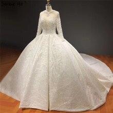 Vestidos de novia marfil de alta gama, brillantes, con cuentas de cristal, manga larga, sexys, de lujo, HA2271, hechos a medida